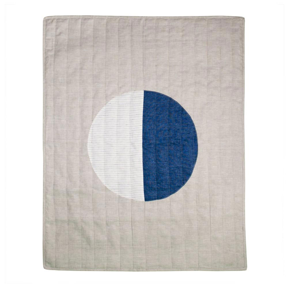 Small Natural Linen Thin-Stripe Moon Quilt
