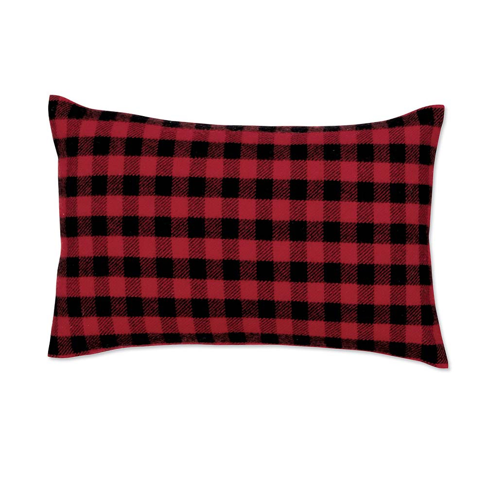 Red-and-Black Mini Buffalo Check Lumbar Pillow Case