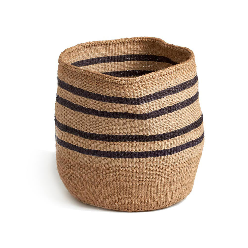Charcoal Striped Basket