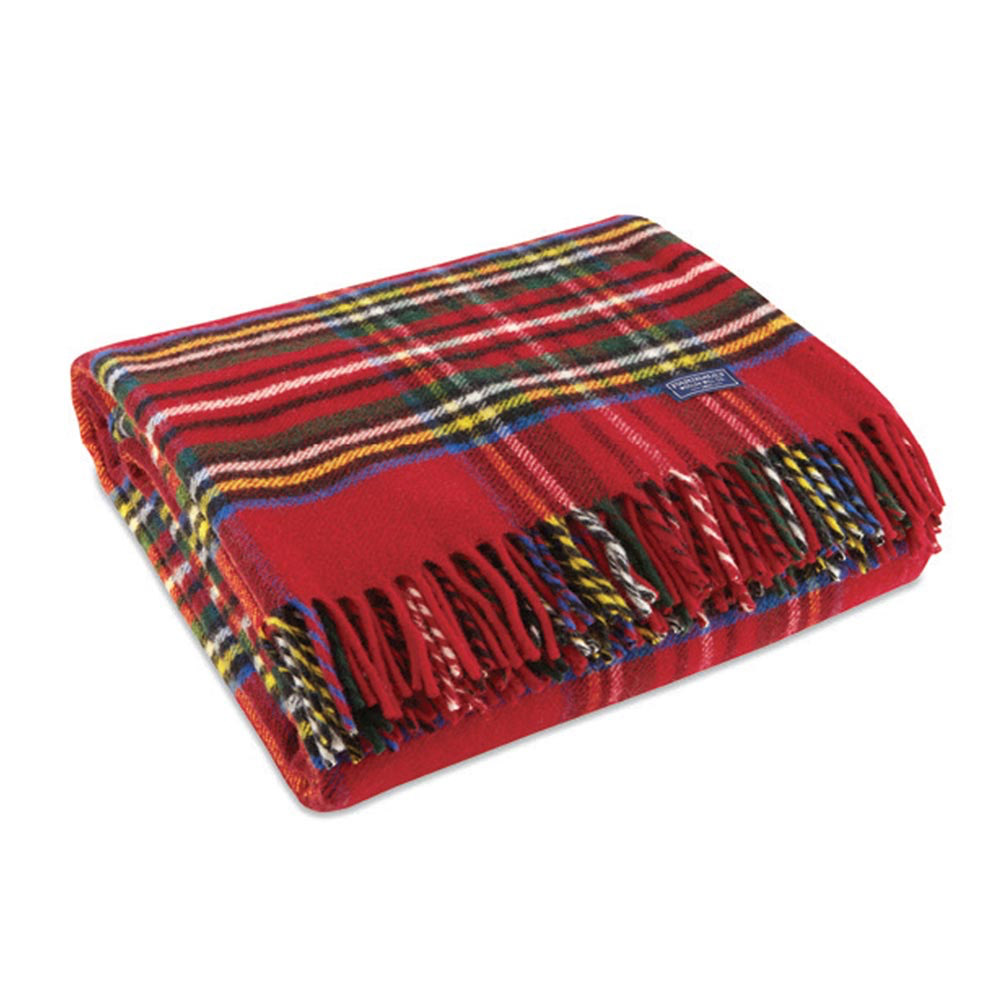 Red Stewart Wool Throw