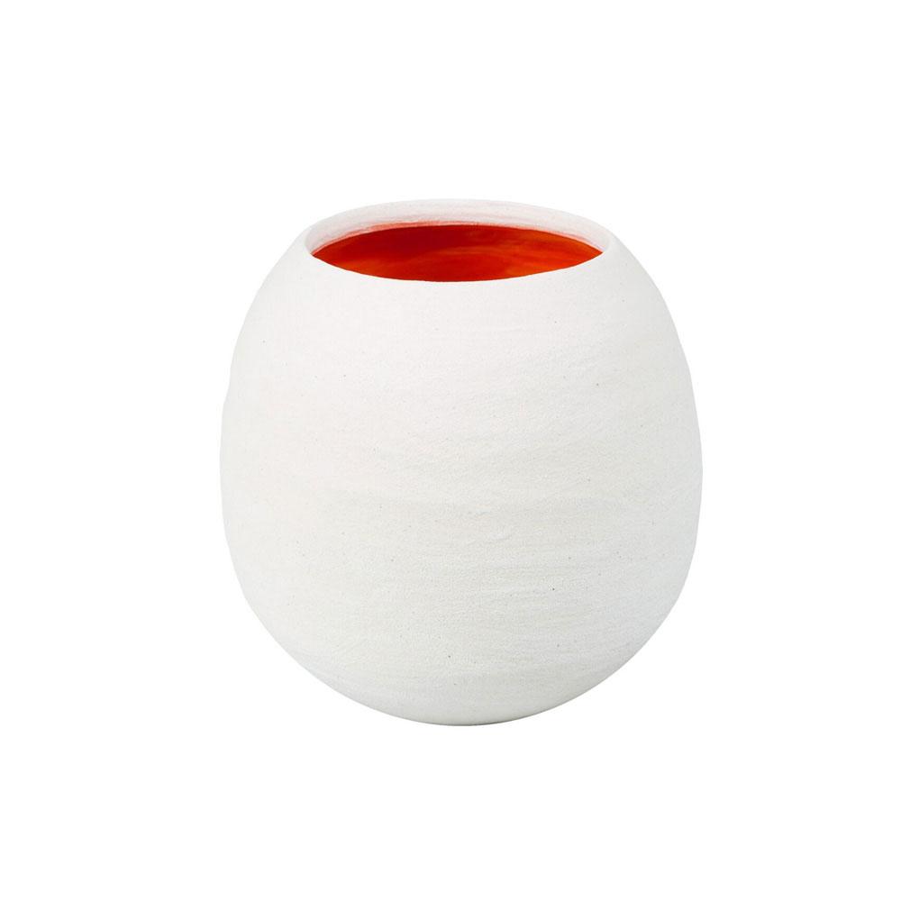 Dino White Matte Vase with Orange Interior