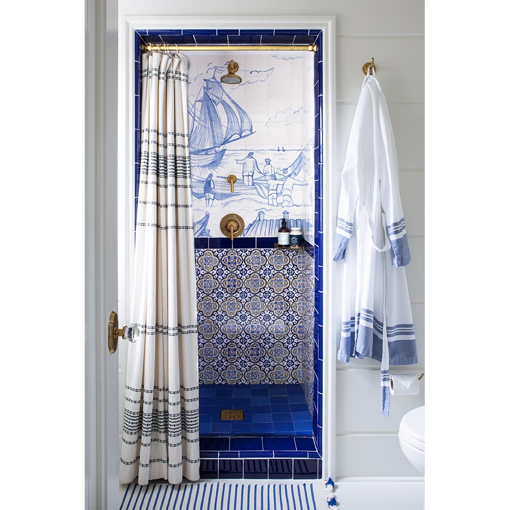 Rippled Stripe Shower Curtain