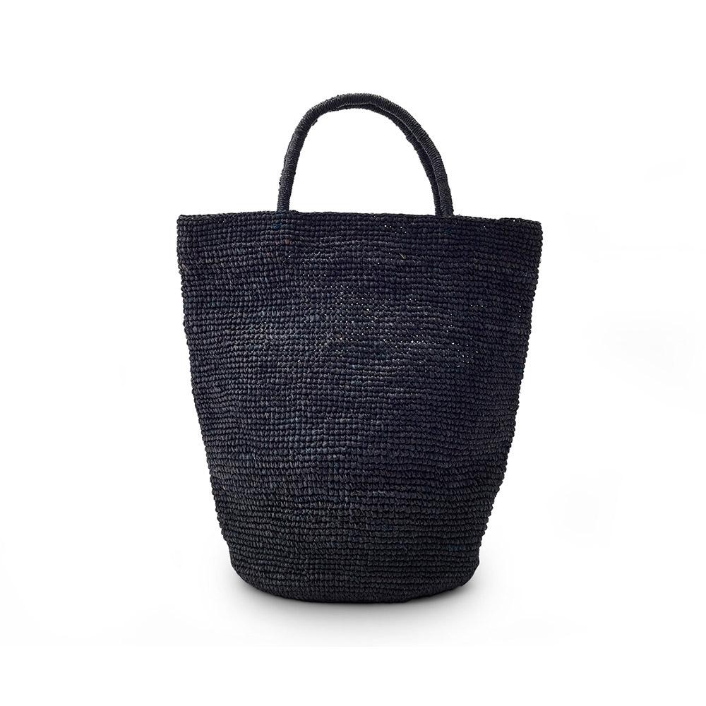 Solid Black Woven Raffia Handbag