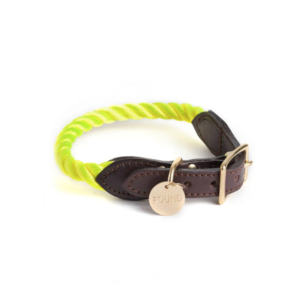 Neon Yellow Rope Cat and Dog Collar