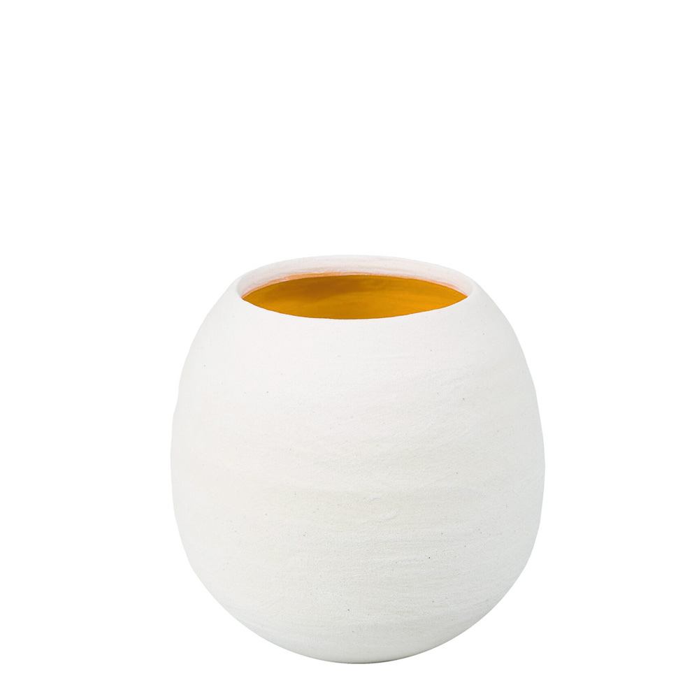 Dino White Matte Vase with Yellow Interior