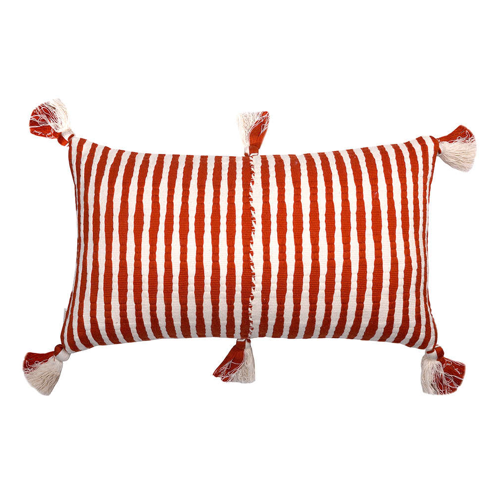 "Red-and-White Antigua Pillow (12"" x 20"")"