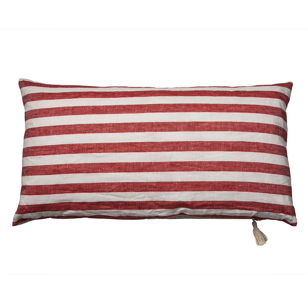 "Red Sur la Mer Throw Pillow (14"" x 26"")"