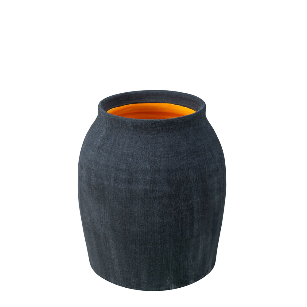 Coal Blue Matte Jar with Cantaloupe Yellow Interior