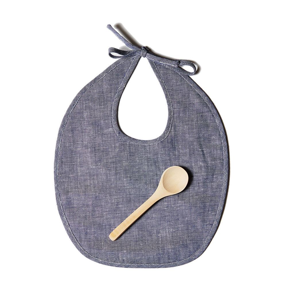 Indigo Linen Bib Set