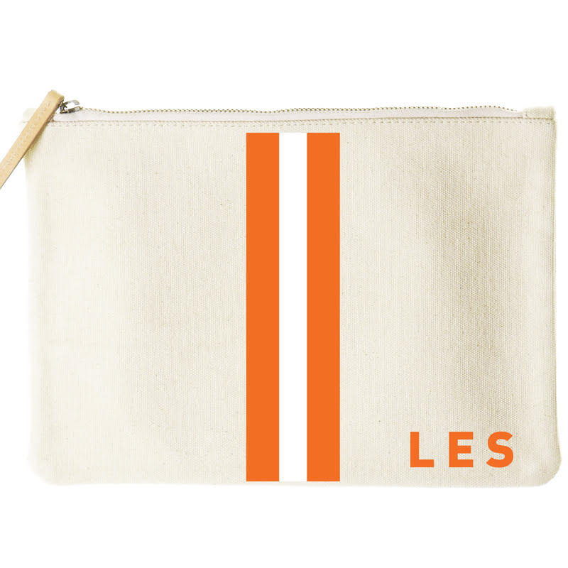 I am #EVERYTOWN-mimi flat clutch-orange and white stripe