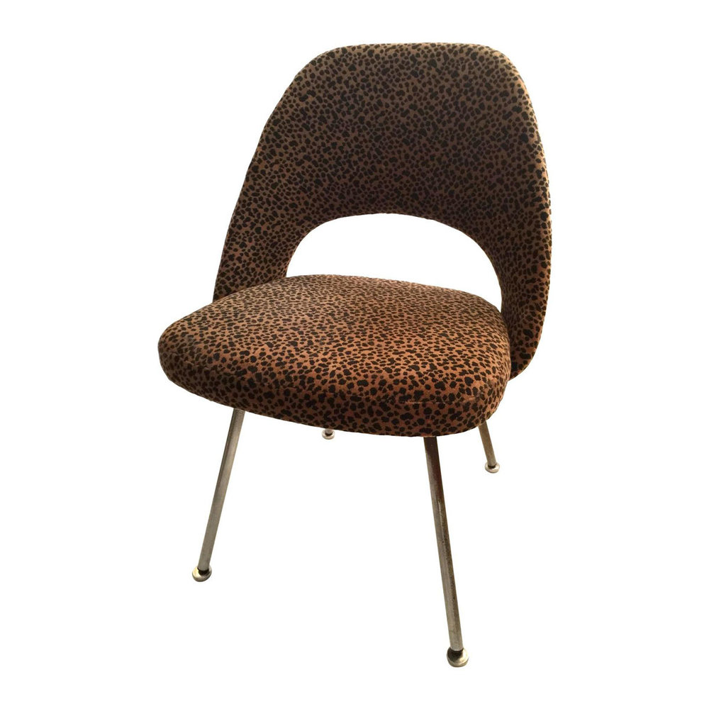 Vintage Saarinen Side Chair with velvet Leopard Upholstery