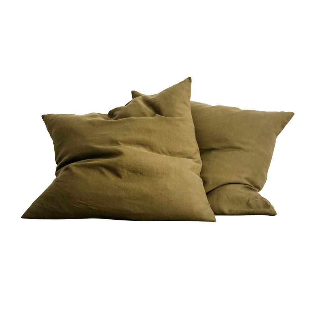 Olive Euro Linen Pillowcases (Set of 2)