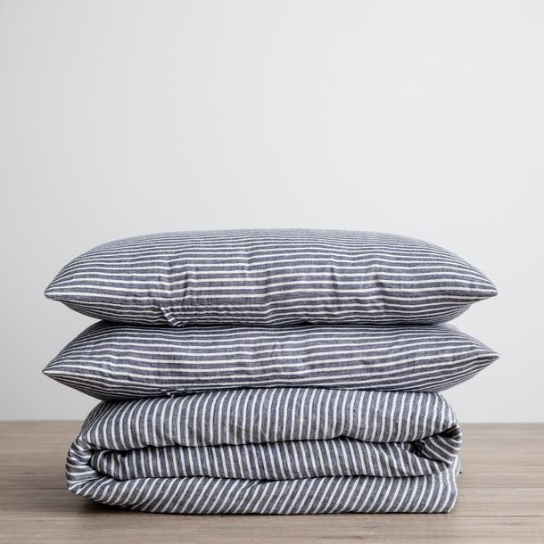 Indigo Stripe Linen Bedding