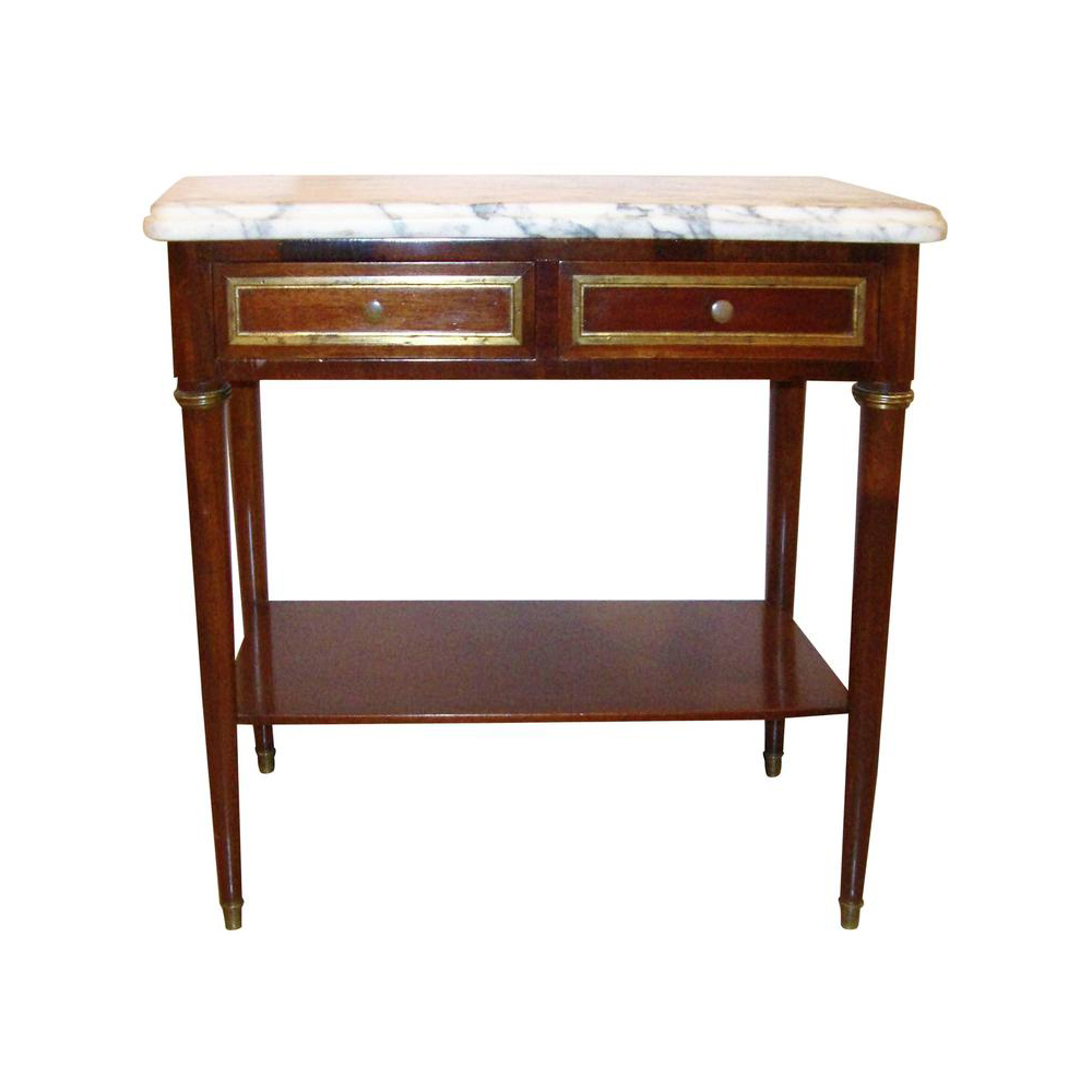 Diminutive Marble-Top Mahogany Stand, End Table in the Manner of Jansen