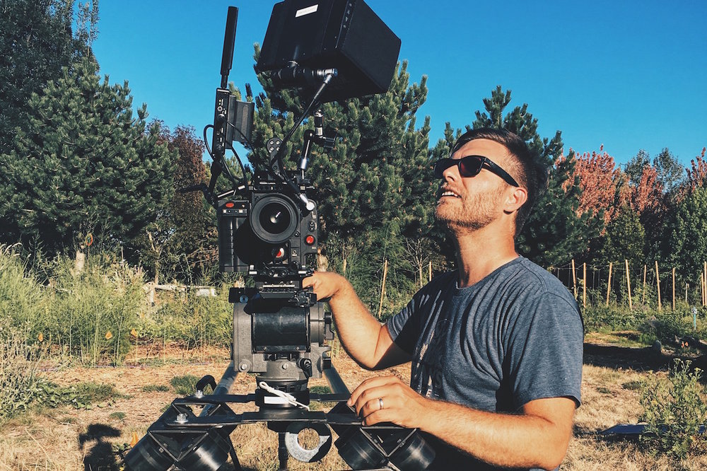 Director/DP Caleb Young setting up the shot.