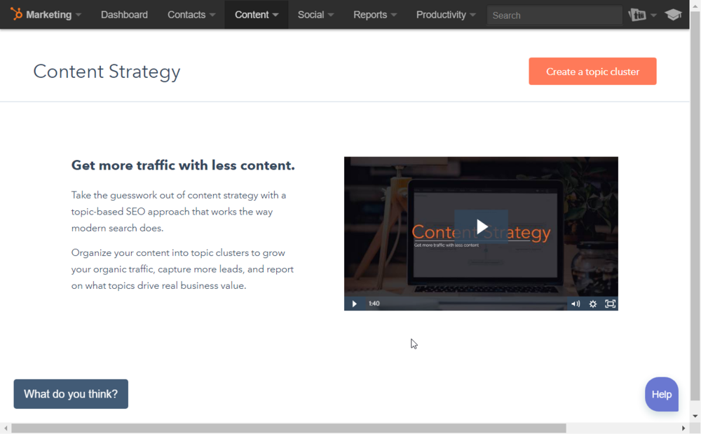 Content Strategy tool first page.