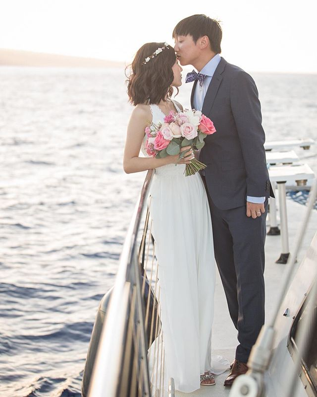 Beautiful wedding out at sea with @trilogyweddings