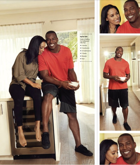 SD Chargers Tight End, Antonio Gates inside his Hollywood Hills home with wife, from the E! TV show, WAGS, Sasha Gates.