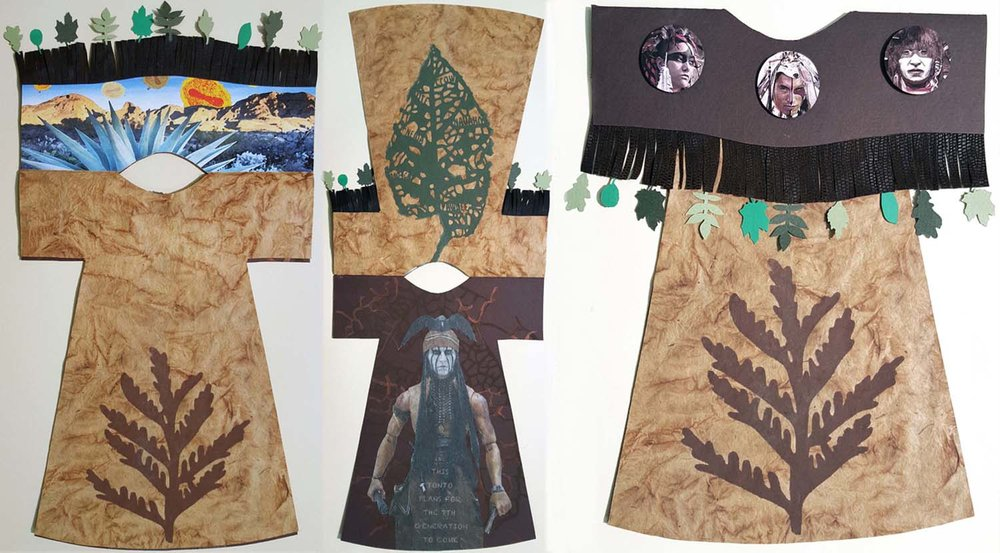 "Thanksgiving Day:   Shoshone woman's dress, 1/5, 23.25"" x 12"" open, 5 page book created by collaging stencil and archival inkjet printing on paper and pleather"