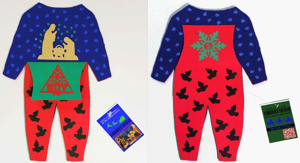 "Christmas Day:   Child's pajamas, 3/5, 12.5"" x 8.25"" closed, 12.5"" x 8.25"" open, 4 page book in the shape os a child's pajamas. Felt, paper, archival inlet print, plastic"