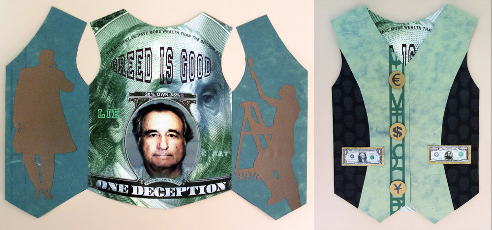 """Labor Day:    S tockbroker's vest     5/5, 10.5 """" x7.75 closed, 4 page book: collage with canson paper and rice papers, stencil printing and archival inkjet print"""