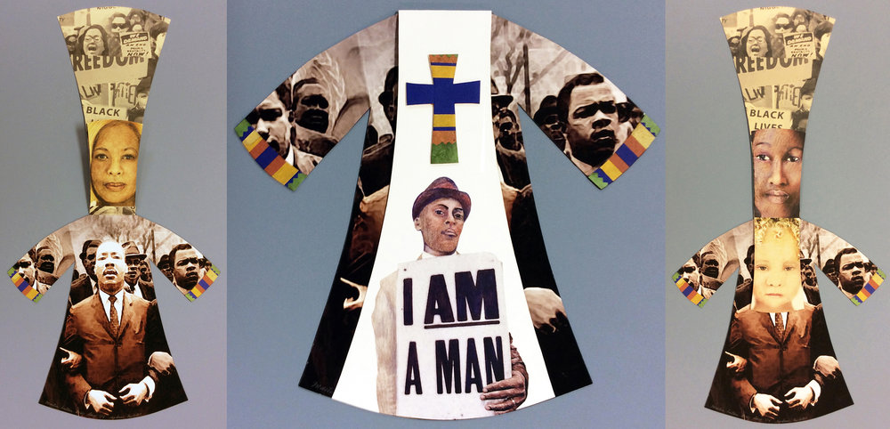 "Martin Luther King Jr. Day:   Minister's robe, 1/5, 23.25"" x 12"" open, 8 page book, collaged archival ink jet print with Canson, rice and Moab papers"