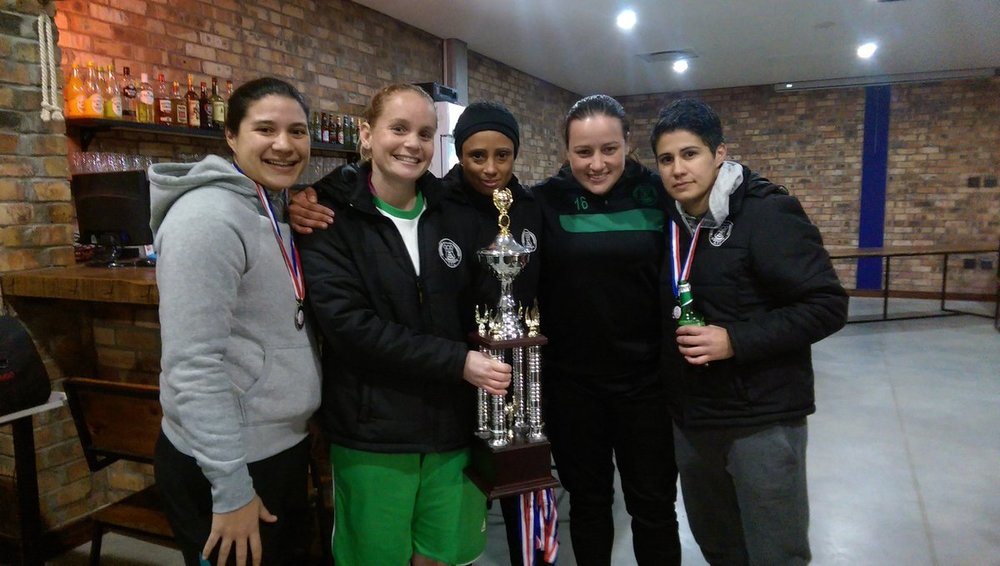 Team with league Golden Boot winner, Kim Nicholson (far right)
