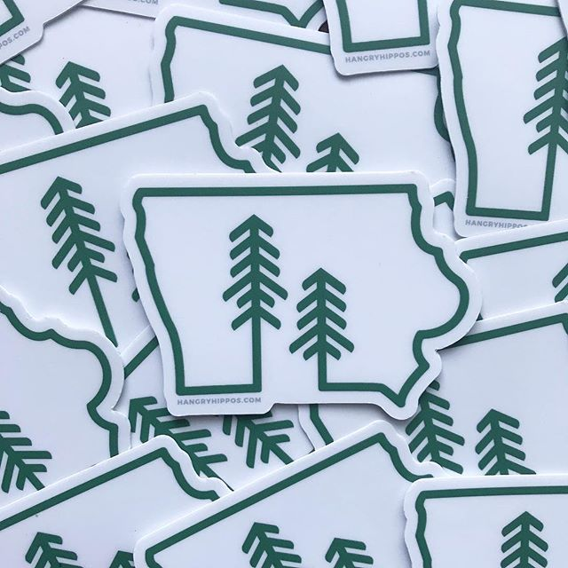 Say hello to these new beauties! Fresh #stickers over at @hangryhipposapparel and I couldn't be happier with how they turned out. @stickermule with the stellar die cut. #iowa #iowaoutdoors #getoutside