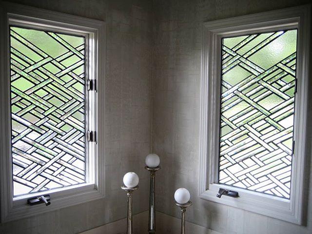 Beveled bathroom bathing blinds. #gordonglass