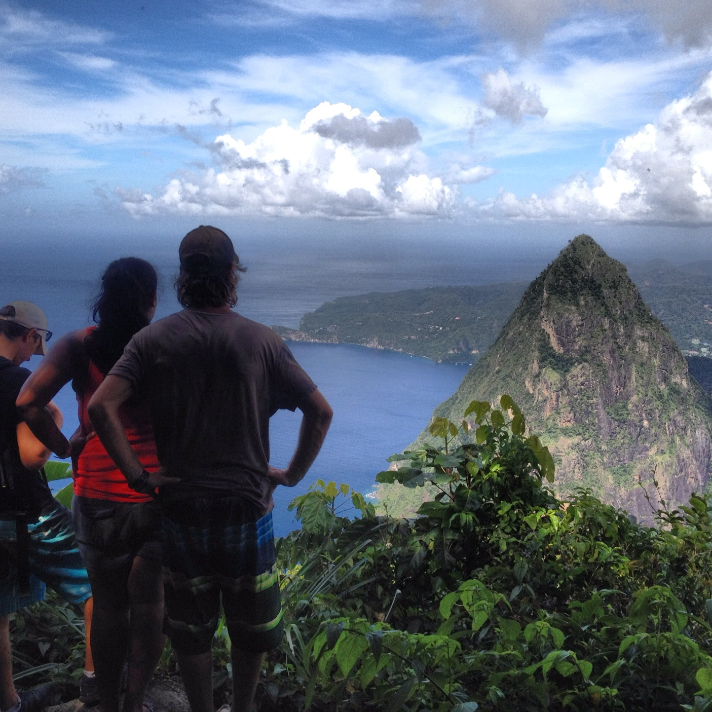 Taking in the view of Petit Piton and Soufrière from the top of Gros Piton, the highest point in St. Lucia. We were moored in the marine park below (center of this photo) for the first few days of my trip.