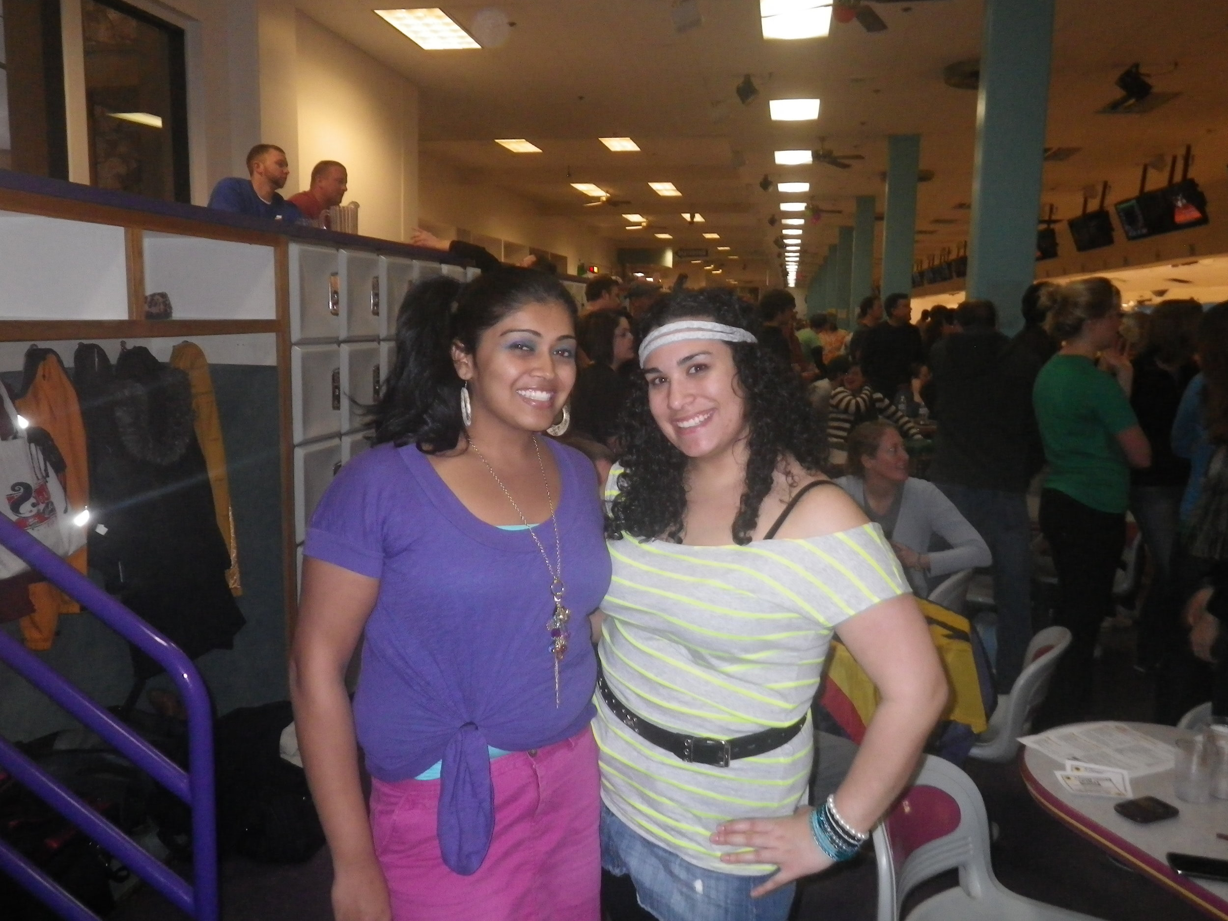 Dressed up for 80s night during our bowling league