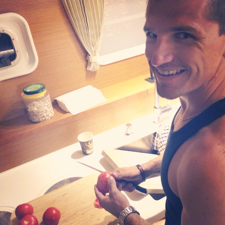 Chef Ilya chopping away