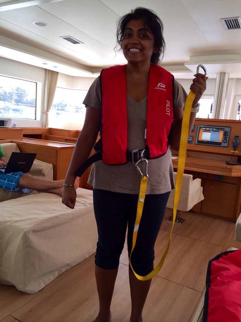 The best kind of life jacket is the kind that never gets used because YOU DON'T FALL OFF OF THE BOAT! (There's a carabiner to attach yourself to the boat so you don't fall off when you're outside in bad weather.)