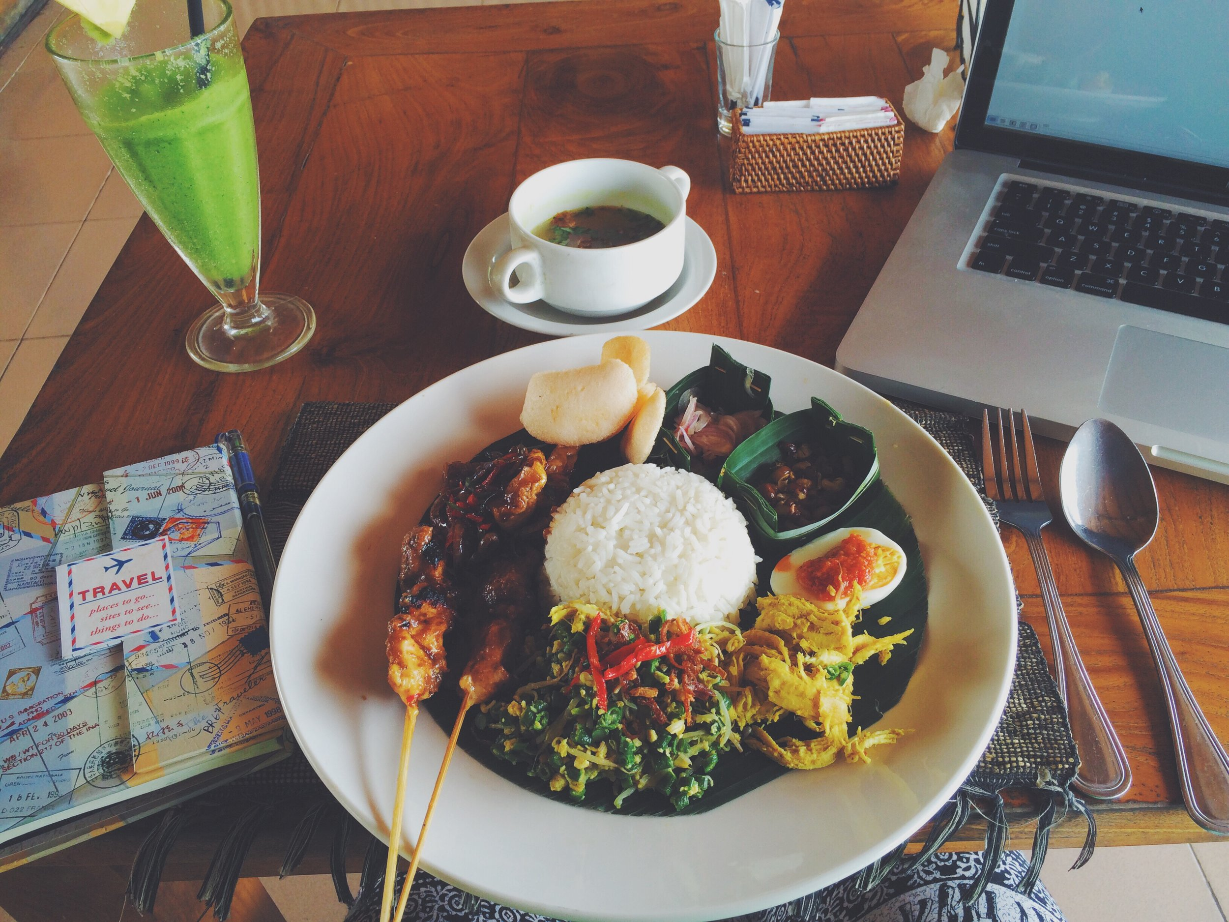 Journal, juice, lunch, laptop are part of the Bali experience for me