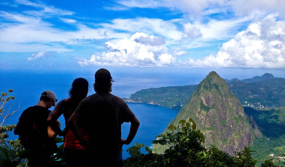 At the top of Gros Piton in St. Lucia