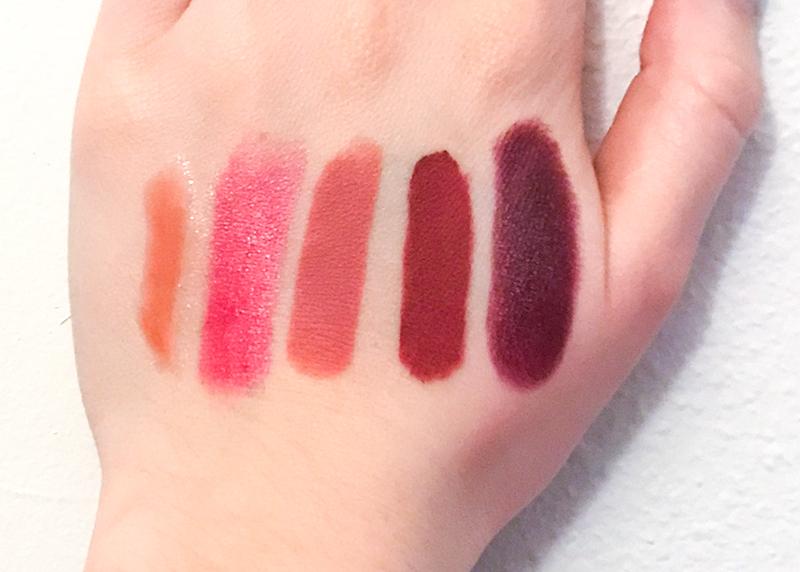 Winter lipstick swatches
