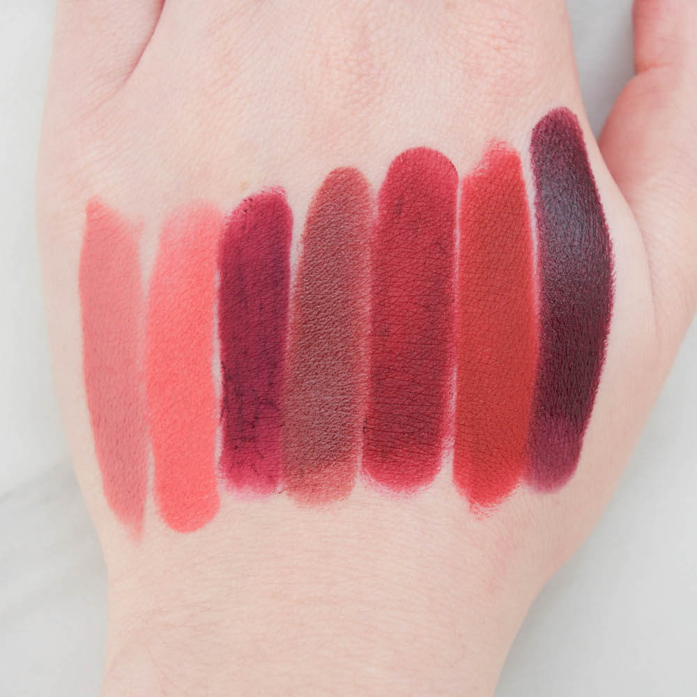 Makeup Geek iconic lipsticks (l-r) Gullible, giddy, vain, witty, Risqué, Saucy, Shady