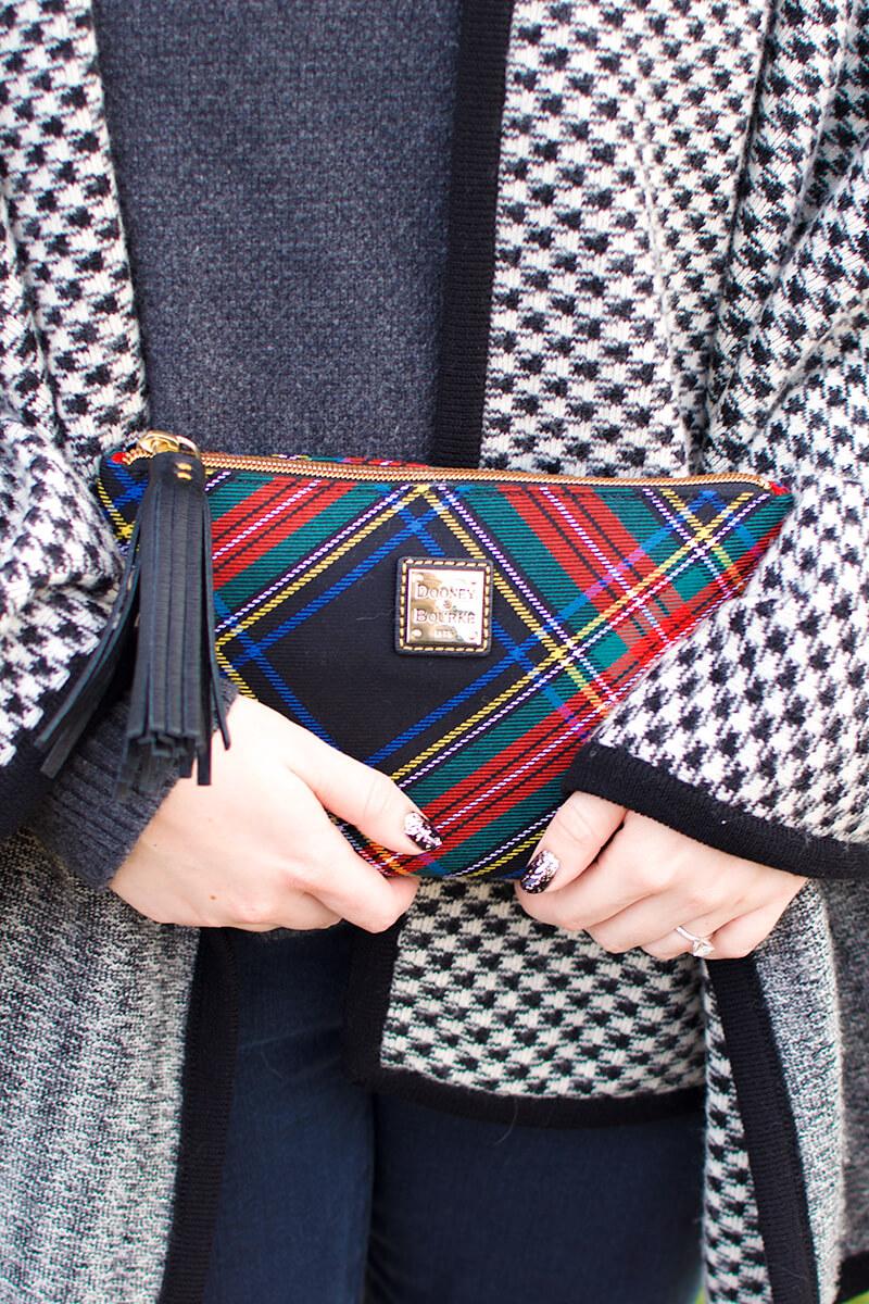 how to wear a wool cape - handbag choice