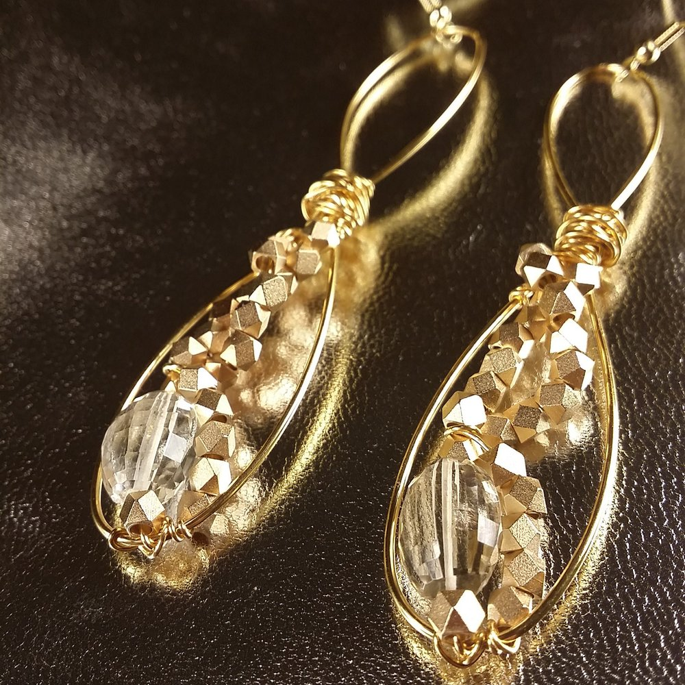 Faceted clear citrine embellished with rose gold gives a clear beauty, vision, and glow.
