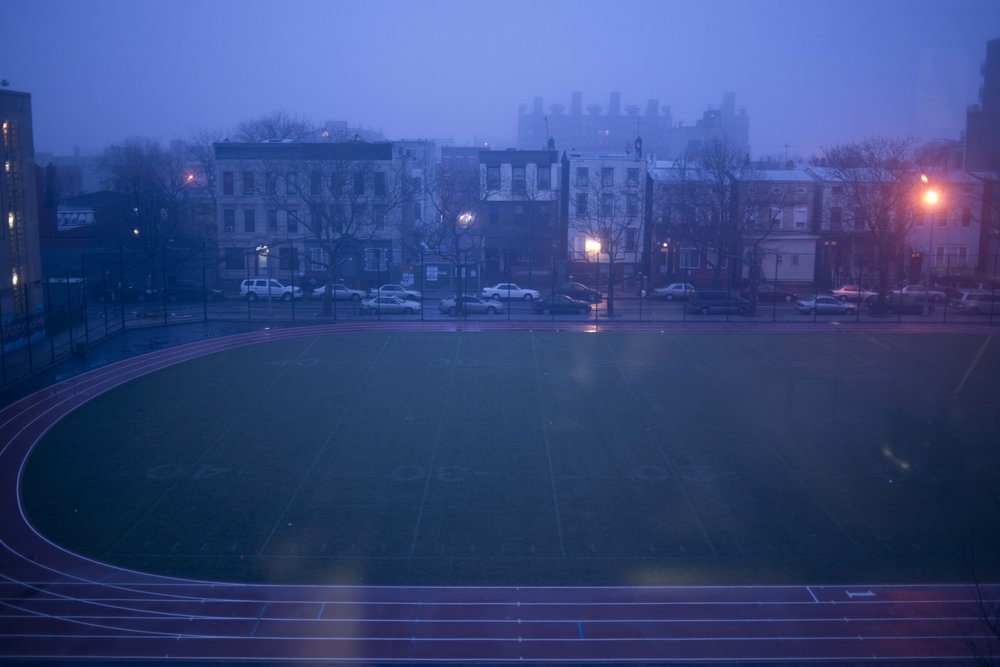 A view of the school's track from Ms. Bujan's classroom window at 6:30 a.m.