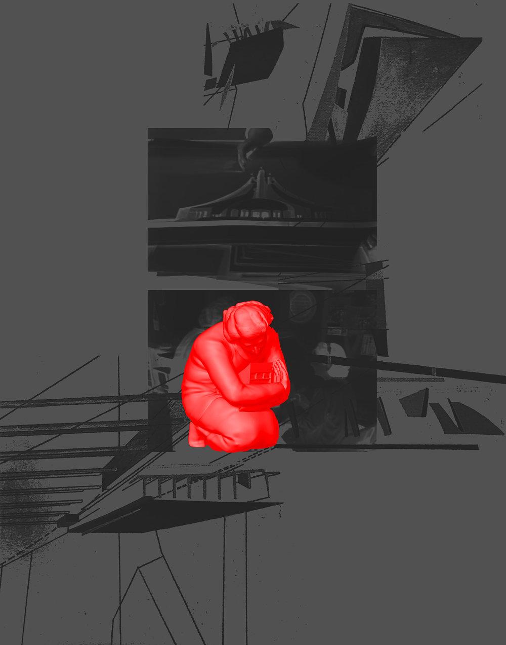 "Mawadda mourns Zaha,  2018.Inkjet print, 11""x14"""