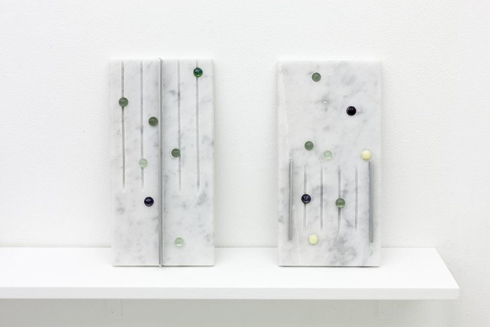 """Drain Tablet"" (1, 2)  6"" x 12"" x .5"" Grey Carrara marble, glass marbles, aluminum 2018"