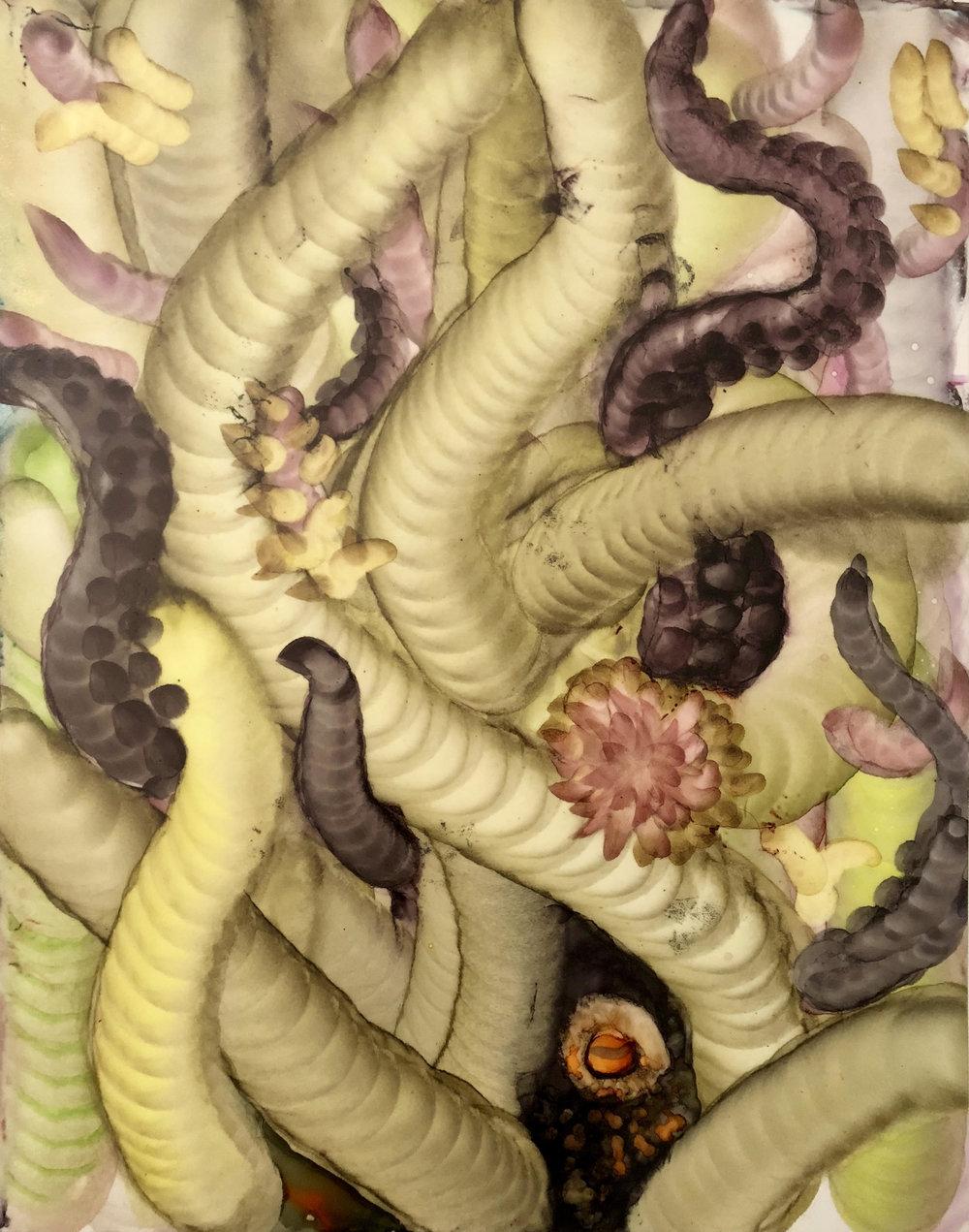 Bahar Sabsevari, Sleeping Beauty ٫ 11x14 in, watercolor and ink on maylar. 2018