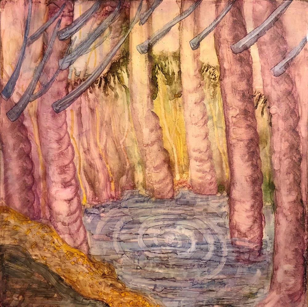 Bahar Sabzevari, Untitled, Watercolor on panel, 2018