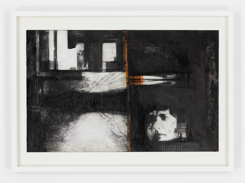"""RAHA RAISSNIA Earthwork, Image transfer, ink compressed charcoal and collage on paper 12"""" x 19"""", 2016"""