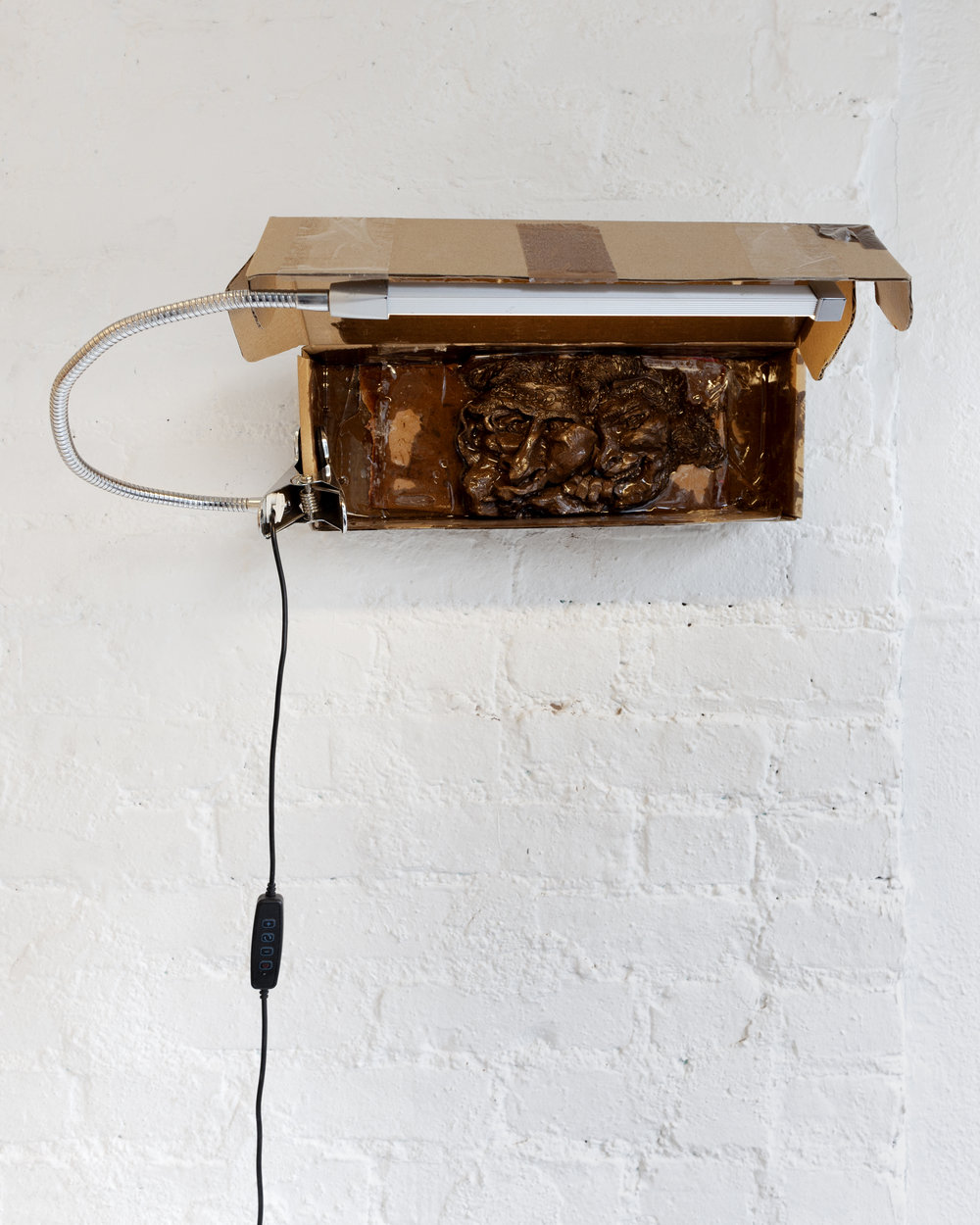 """Pooneh Maghazhe, Let's Do This, water based clay, resin packing tape, LED clam light, cardboard shipping box, 20""""x9""""x10"""", 2018"""