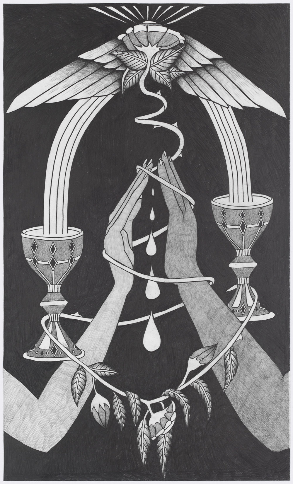 """Afruz Amighi, Two of Cups, 2019, graphite on mylar, 20""""h x 12""""w."""