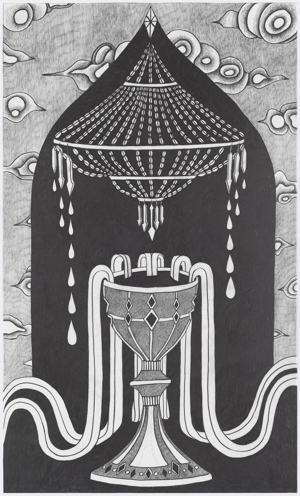 "Afruz Amighi, Ace of Cups, 2019, graphite on mylar, 20""h x 12""w."