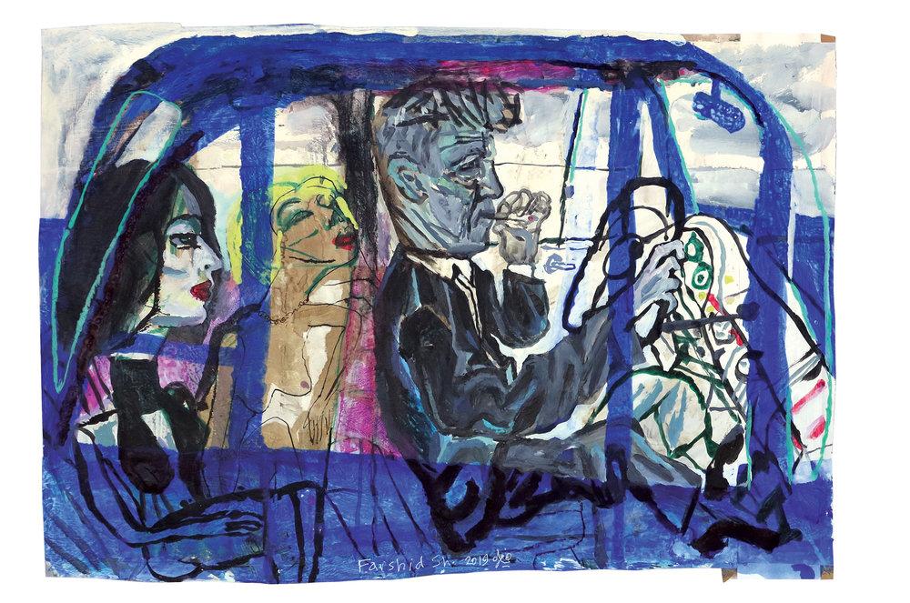 "Farshid Shaley, Mulholland Drive 16""X26"" Acrylic on prepared cardboard  2019"