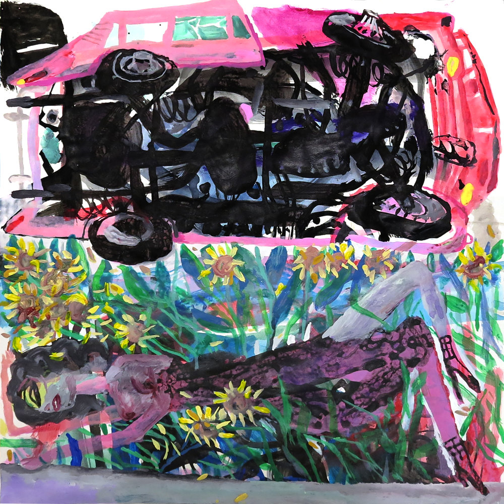 "Farshid Shaley, Sunflower Road 16""X16"" Acrylic on paper 2019"